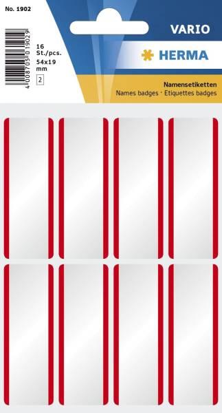 1902 Namensetiketten weiß rote Streifen 54x19 mm ablösbar Acetatseide 16 St