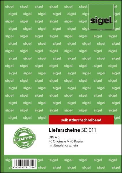 Lieferscheine mit Empfangsschein A5, 1 und 2 Blatt bedruckt, SD, MP, 2 x 40 Blatt
