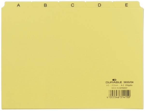 Leitregister A Z DIN A5 quer, gelb