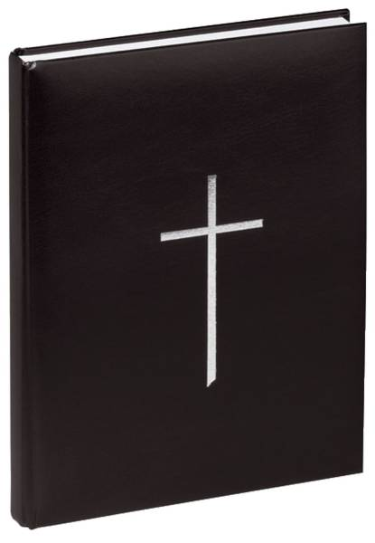 Kondolenzbuch mit Kreuz schwarz, 120 Blatt
