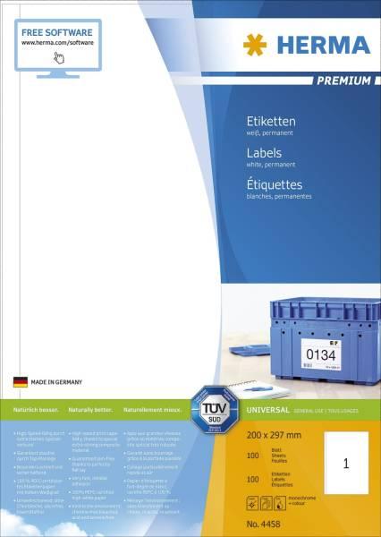 4458 Etiketten Premium A4, weiß 200x297 mm Papier matt 100 St