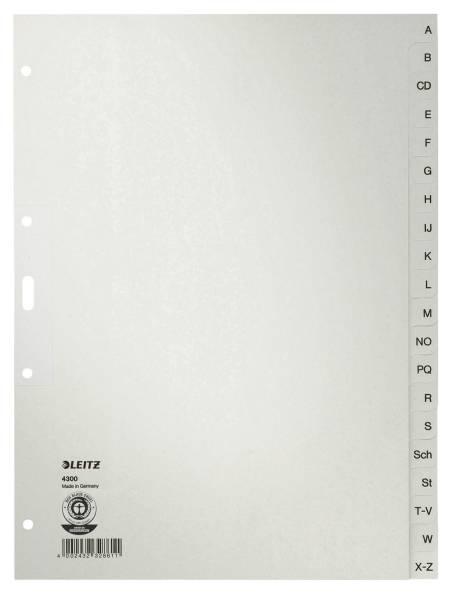 4300 Register A Z, Papier, A4, 30 cm hoch, 20 Blatt, grau