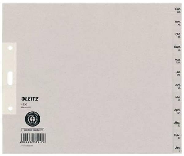 1230 Monatsregister Dez Jan, Papier, A4 Überbreite, 20 cm hoch, 12 Blatt, grau