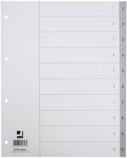 Zahlenregister 1 10, PP, A4 Überbreite, 10 Blatt, grau