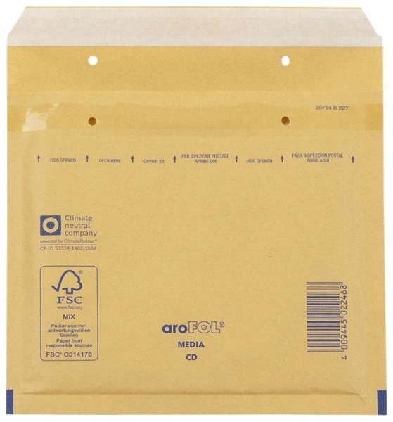 Luftpolstertaschen CD, 180x165 mm, goldgelb braun, 100 Stück