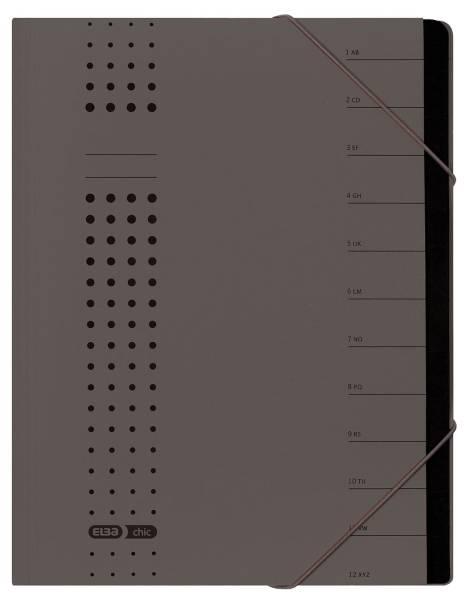 Ordnungsmappe chic, Karton (RC), 450 g qm, A4, 12 Fächer, anthrazit
