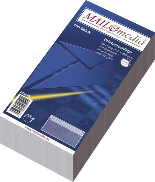 Briefumschläge DIN lang (220x110 mm), ohne Fenster, selbstklebend, 72 g qm, 100 Stück