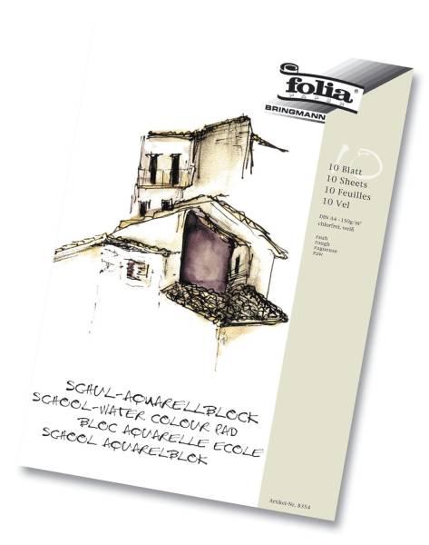 Schul Aquarellblock 150 g qm, DIN A4, weiß, 10 Blatt