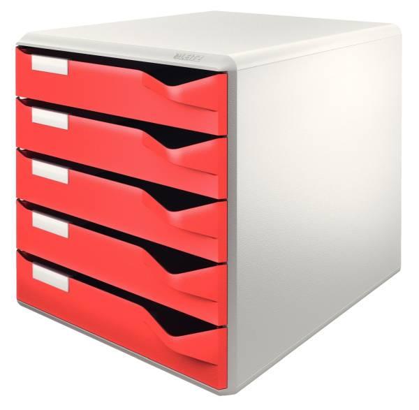 5280 Schubladenset Post Set A4 C4, 5 halboffene Schubladen, lichtgrau rot