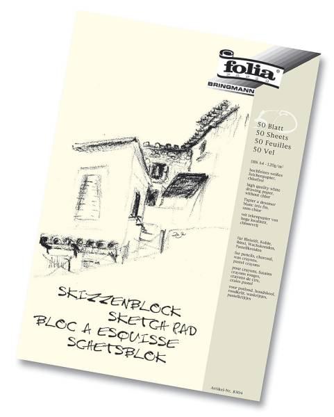 Skizzenblock 120 g qm, DIN A4, 50 Blatt