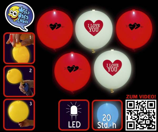 TIB Luftballon LED I love You sort. 16966