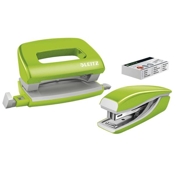 5561 Set Mini Locher Heftgerät NeXXt WOW grün metallic