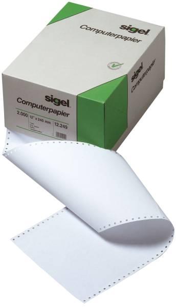 """DIN Computerpapier, 1fach, 12""""x240 mm (A4 hoch), längsperforiert, 2000 Blatt"""