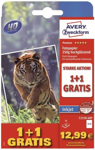 C2550 40 Premium Inkjet Fotopapier 10x15 cm, hochglänzend, 250 g qm, 40 Blatt