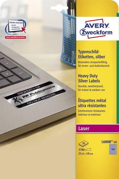 L6008 20 Typenschild Etiketten A4, 3 780 Stück, 25,4 x 10 mm, wetterfest, 20 Blatt silber