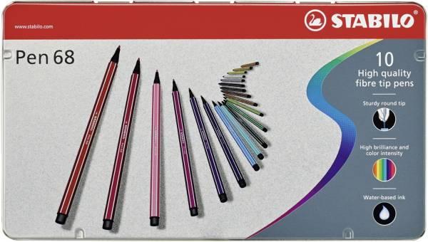 STABILO Fasermaler Pen 68 Etui 10 Stück 6810-6 Metalletui
