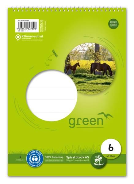 STAUFEN GREEN Spiralblock A5 40BL Lin6 40740006 70g