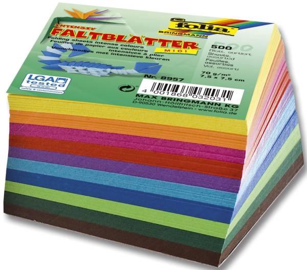 Faltblätter 8 x 8 cm 10 Farben sortiert, 500 Blatt, 70g qm