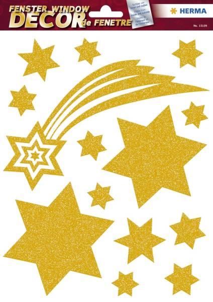 HERMA Weihn. Fensterbild Sterne gold 14 Stück 15109