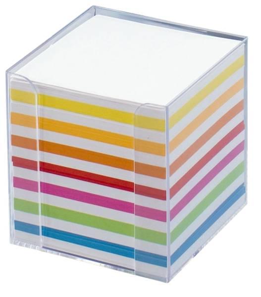 FOLIA Zettelbox 9.5x9.5x9.5 glasklar 9903 Papier weiss+fbg.