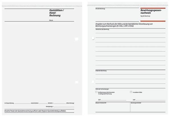 Bewirtungsspesennachweis Gaststättenrechnung A5, 2seitig bedruckt, MP, 50 Blatt