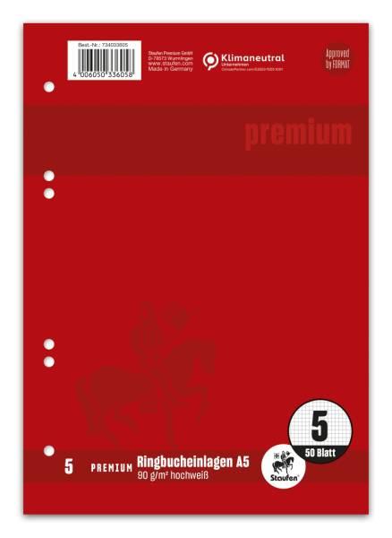 STAUFEN PREMIUM Ringbucheinlage A5 50BL Lin.5 weiß 734033605 6-Loch
