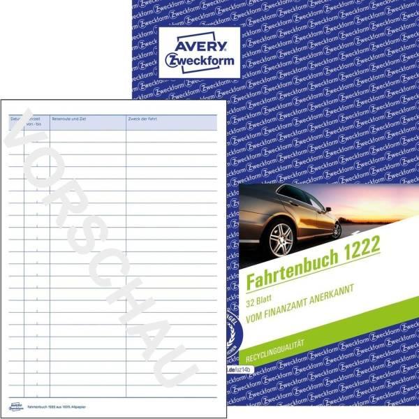 AVERY ZWECKFORM Fahrtenbuch A5 32Bl 1222