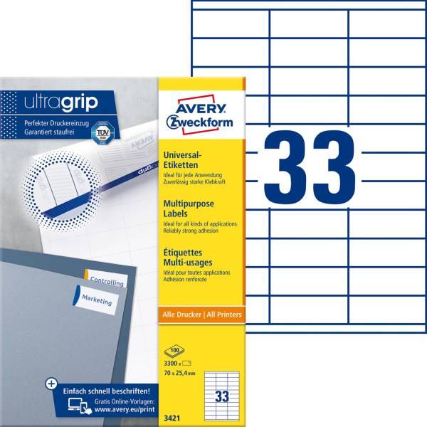 3421 Universal Etiketten (A4, Papier matt, 3 300 Etiketten, 70 x 25,4 mm) 100 Blatt weiß