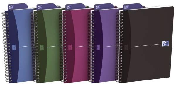 Office Spiralbuch A5, 5 mm kariert, 90 Blatt, sortiert