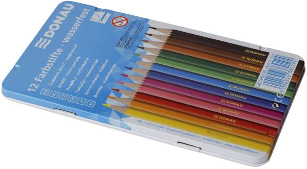 Farbstifte 3 mm, 12 Farben, Metalletui
