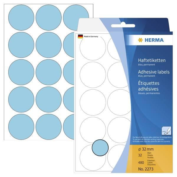 HERMA Etiketten Ø32mm blau 2273 480 Stück permanent haftend