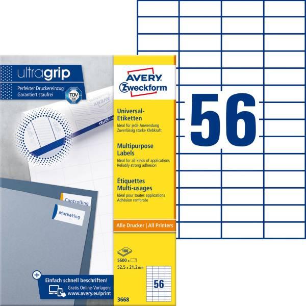 3668 Universal Etiketten 52,5 x 21,2 mm, weiß, 5 600 Etiketten 100 Blatt, permanent