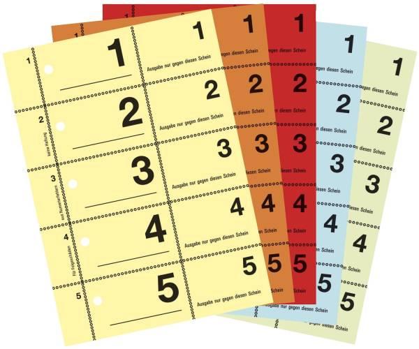 867 Garderobennummern, DIN A6, farbig sortiert, 100 Blatt Block, gelb, orange, rot, blau, grün