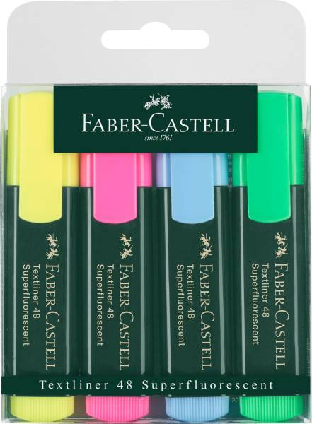 FABER CASTELL Textmarkeretui Textliner 48 4 Farb. sort 154804 nachfüllabr