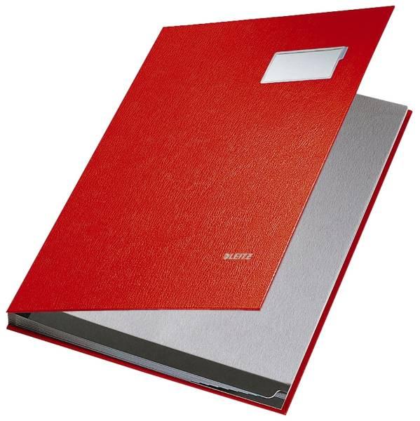 5701 Unterschriftsmappe 10 Fächer, PP kaschiert, rot