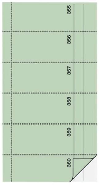 Bonbuch o Kellner Nr , 360 Abrisse, SD, hellgrün, 105x200 mm, 2 x 60 Blatt