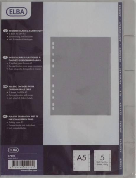 Blankoregister A5 5tlg , grau, Plastik