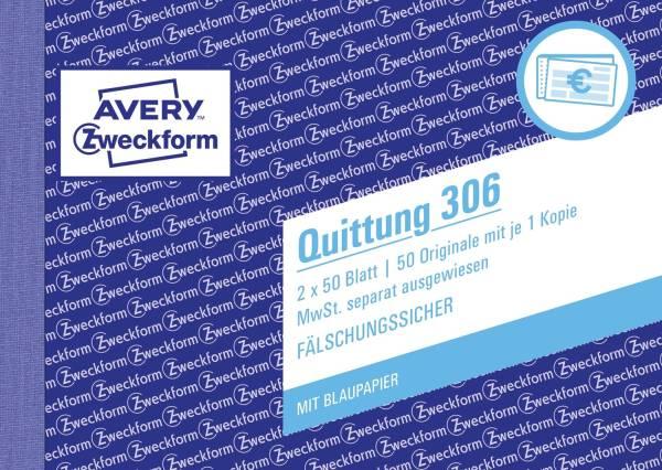 306 Quittung MwSt separat ausgewiesen, DIN A6 quer, fälschungssicher, 2x 50 Blatt, weiß