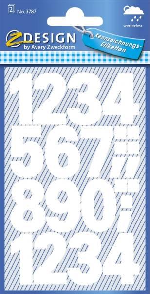 3787 Zahlen Etiketten 0 9, 25 mm, weiß, selbstklebend, wetterfest, 28 Etiketten