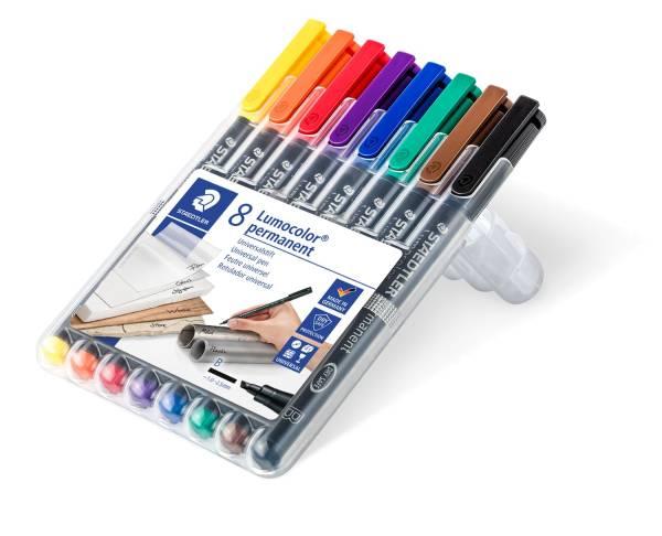 Feinschreiber Universalstift Lumocolor permanent, B, Box mit 8 Farben®