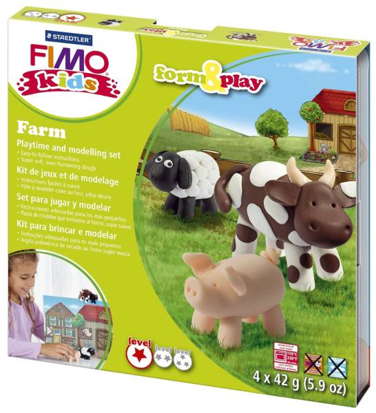 "Modelliermasse FIMO Kids Materialpackung Form & Play ""farm"", 4 x 42 g®"