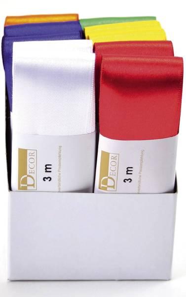 Doppelsatinband 40 mm x 3 m, farbig sortiert