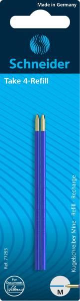 SCHNEIDER Kugelschreibermine 2ST f.Take4 blau 77293
