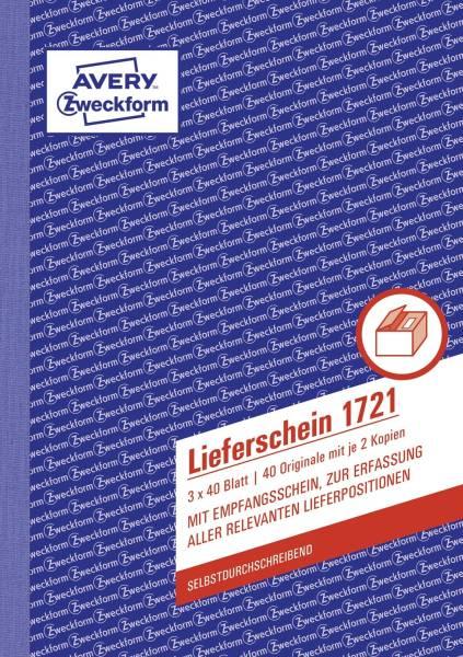 AVERY ZWECKFORM Lieferscheinbuch A5/3x40BL SD 1721