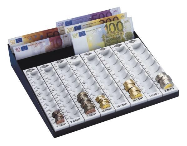 WEDO MünzGeldzählbrett EURO hgrau 160 790037 3Fäch.+8Münzr.