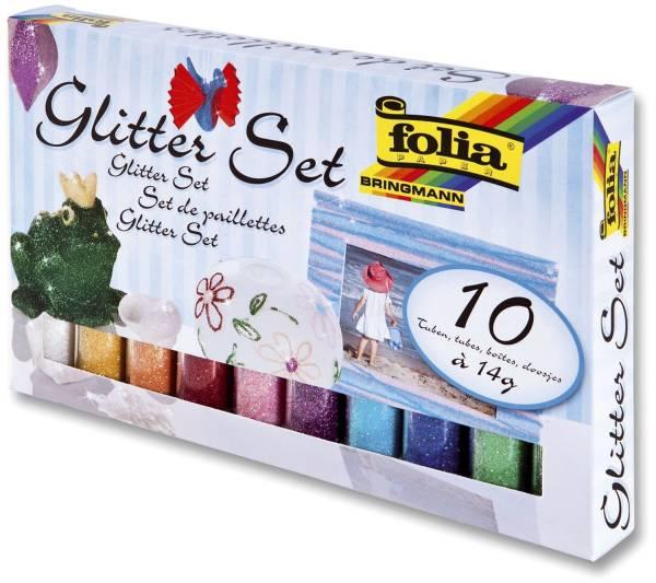 Glitterset 10 Farben sortiert, 10 Stück à 14g
