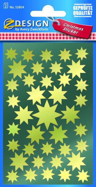 AVERY ZWECKFORM Weihn.Schmucketikett Sterne 52804