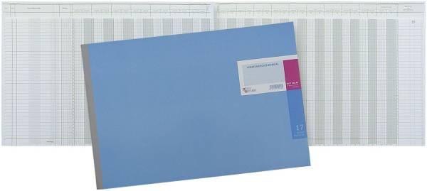Amerikanisches Journal mit Kopfleiste 490 x 297 mm, 17 Konten (10 14), 48 Blatt