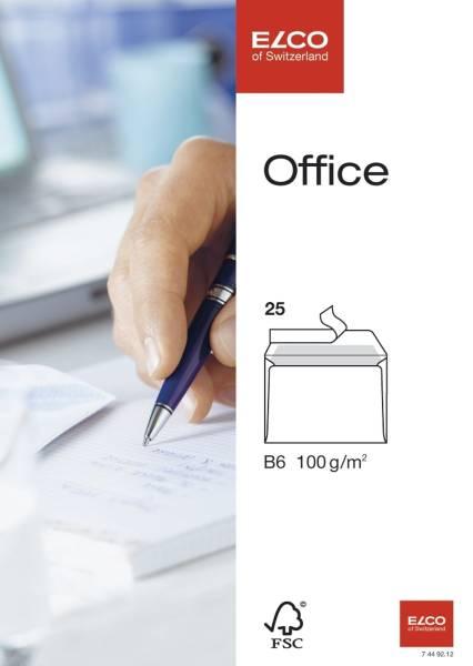 Briefumschlag Office B6, hochweiß, haftklebend, ohne Fenster, 100 g qm, 25 Stück