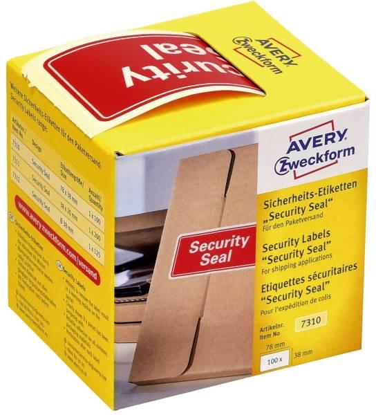 """7310 Sicherheitssiegel """"Security Seal"""" 38 x 78 mm, rot, 100 Stück im Spender"""